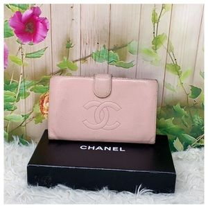 Authentic Chanel CC Caviar Leather Bifold Wallet